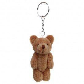 chaveiro urso de pel cia 10 cm marrom frente 2