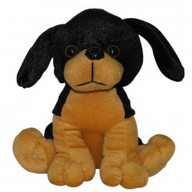 cachorro de pel cia 20 cm preto sentado