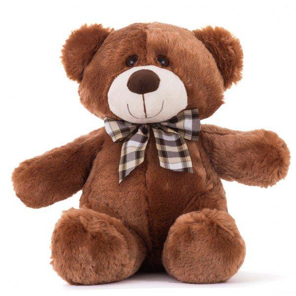 urso de pel cia 40 cm decore marrom com la o
