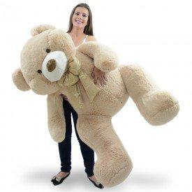 urso de pel cia gigante 1 metro e 30 cm guto areia lado