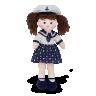 fi1306 boneca de pano 57 cm marinheira com chap u