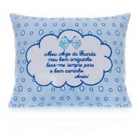 almofada 30x40 cm mensagem do anjinho em azul